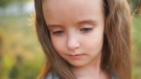 一个美丽的小女孩的美妙的接近的画象有长的头发和灰色眼睛的 反对一个夏天的背景 影视素材