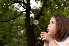 一个美丽的小女孩的画象有花的 免版税库存图片