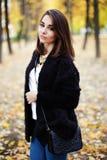一个美丽的少妇的画象在秋天公园 库存图片