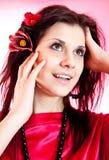 一个美丽的性女孩的纵向 免版税库存照片