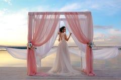 一个美丽的新娘在码头站立 免版税库存图片