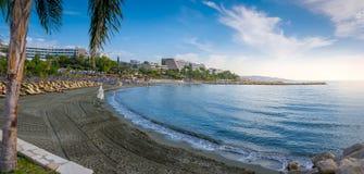 一个美丽的海滩在利马索尔塞浦路斯 免版税库存图片