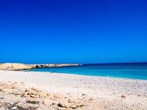 一个美丽的海滩在阿曼 免版税库存图片