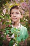 一个美丽的男孩的画象在春天公园 免版税库存图片