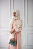 一个美丽的聪慧的穆斯林的东部女孩穿戴,在她的头的一件披肩在轻的古典背景 免版税图库摄影