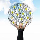 一个美丽的金发碧眼的女人停滞她的手 一棵树的剪影与电灯泡的在人后被画 背景多云天空 Ligh 免版税库存照片