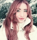 一个美丽的金发碧眼的女人的冬天画象 库存图片