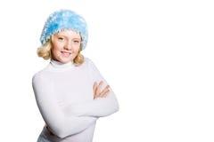 一个美丽的青春期前的女孩的冬天纵向 库存照片
