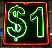 一个美元霓虹灯广告 库存图片