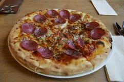 一个美味的薄饼用蒜味咸腊肠、乳酪、西红柿酱和草本 库存图片