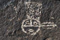 一个美国本地人的刻在岩石上的文字 免版税库存图片