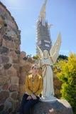 一个美好的天使的大理石象 免版税图库摄影