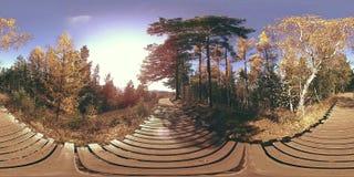 一个美好的山场面的4K 360 VR虚拟现实在秋天时间的 狂放的俄国山 股票录像