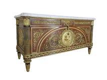 一个美好的路易斯XVI样式镀金面古铜登上的洗脸台,模型Benneman 免版税图库摄影