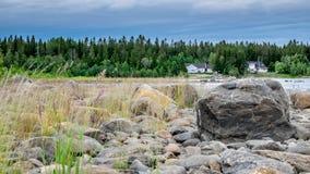 一个美妙的夏日在海上的北部瑞典 免版税库存图片