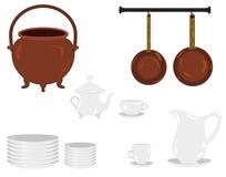 一个老传统厨房对象的例证:铜水壶和平底锅,板材,茶具,尖齿,茶壶,咖啡具 免版税库存图片