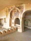 一个老修道院的内部说出大卫Gareji名字 库存照片