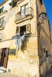 一个老古典大厦的门面在Siracusa,西西里岛,意大利 库存照片