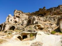 一个老城市的废墟在卡帕多细亚,土耳其 免版税库存图片