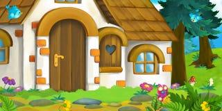 一个老房子的动画片背景在森林里 库存照片