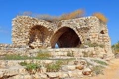 一个老房子的废墟在采法特,上部内盖夫加利利,以色列 免版税库存照片