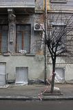 一个老房子的门面 免版税库存照片