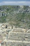 一个老房子(Sasso)的屋顶在马泰拉,意大利 免版税库存照片