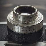 一个老摄象机镜头特写镜头 免版税库存照片