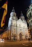 一个老教会在街市昆卡省,厄瓜多尔 免版税库存照片
