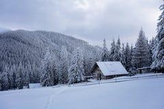 一个老木村庄 在它附近的大随风飘飞的雪 与高山的背景 免版税图库摄影