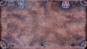 一个老皮革手提箱的地道纹理 库存照片