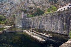 一个老石堡垒的墙壁由水的 图库摄影