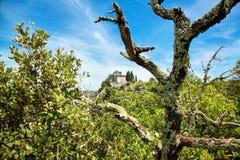一个老石教堂、站立在岩石边缘的教会或者修道院 白色松的云彩和蓝天 法国,欧洲 库存照片