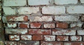 一个老砖墙的零件的特写镜头 粗砺的白色和红砖石工 免版税库存照片
