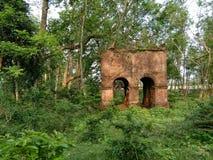 一个老砖结构在森林里 免版税库存图片