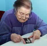 一个老祖母的画象 库存图片