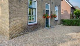 一个老荷兰房子的砖门面 库存图片