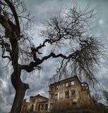 一个老被放弃的豪宅的废墟 免版税库存照片