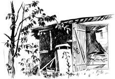 一个老谷仓的剪影 向量例证