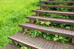 一个老金属楼梯的步 库存照片