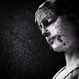 一个老雕象的面孔在公墓 库存图片