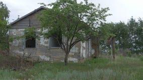 一个老,被放弃的房子在村庄,树背景的  在顿涅茨克附近的被放弃的房子 被毁坏的房子和 免版税库存图片