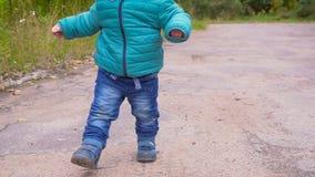 一个耳朵老男孩在秋天公园跑并且微笑慢动作 常平架 影视素材