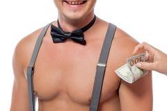一个色情舞蹈的金钱奖励 免版税库存图片