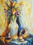 一个花瓶的静物画花和陶瓷船 库存例证