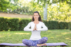 一个苗条女孩看起来运动并且做着体育和瑜伽锻炼 一个迷人的女运动员 库存图片