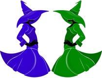 一个苗条巫婆的剪影一件礼服和一个帽子的有时尚样式的宽边缘的,在蓝色和绿色在被隔绝的背景 库存例证
