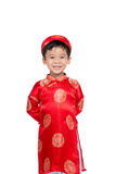 一个英俊的亚裔男婴的画象传统节日的co 库存图片