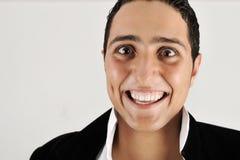 一个英俊的微笑的人的纵向 库存图片