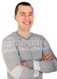 一个英俊的微笑的年轻人的纵向 库存照片